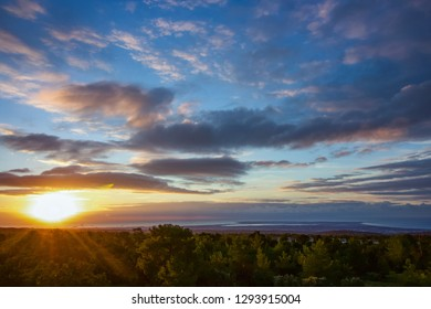 A beauty landscape from the mountains to the Mediterranean sea, outdoors sunrise of Cyprus for this background view. Landscape of the rising sun over the sea, dark clouds but clear skies,