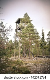 Beauty of Lapland. Tower in the woods.