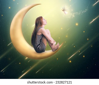 Beauty lonely thoughtful woman sitting on the crescent moon looking up on falling stars. Dreamland imagination screen saver background. Face expression, emotion, life perception