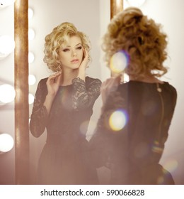 Beauty luxury woman with  and mirror