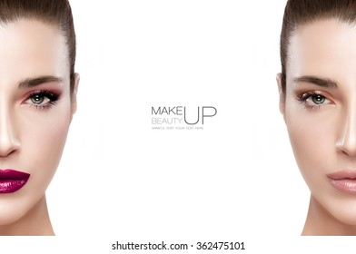 Beauty and makeup concept with two half views of the face of a gorgeous brunette woman on either side of the frame, one with makeup and one natural without. Two portraits isolated with sample text