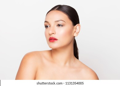 Beauty makeup latino woman with red lipstick