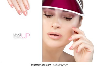 Beauty Makeup and Nail Art Concept. Beautiful fashion model woman with soft makeup, perfect skin and trendy pink nails. Closeup face with a white card template. High fashion portrait isolated on white