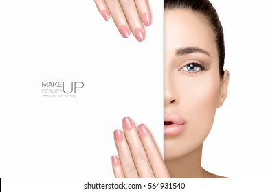Beauty Makeup and Nail Art Concept. Beauty model with soft pink smoky eye, foundation on a unblemished skin and trendy nude lipstick to match her manicured nails, half face with a white card template.