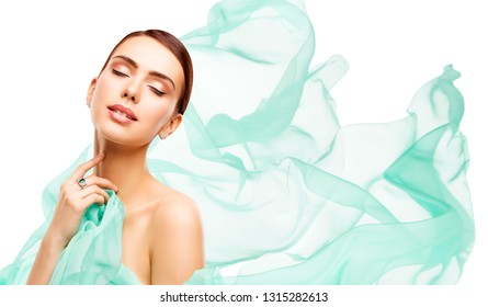 Beauty Makeup Skin Care, Woman Touching Neck Face, Young Girl Isolated over White Background