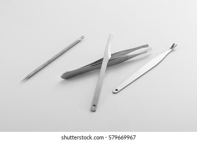 Beauty Manicure Tools on clean grey background
