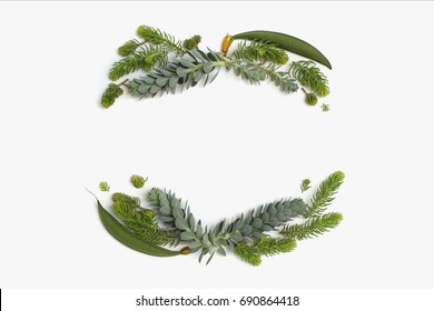 Beauty minimalistic frame wreath with green and blue succulent plants. Flat lay, top view.