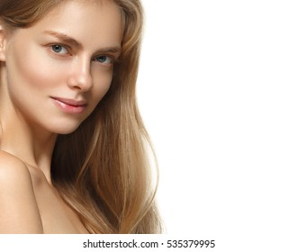 Beauty model girl with perfect make-up isolated over white. Portrait of attractive young woman with perfect hair on white background. Beautiful female face with clear fresh skin