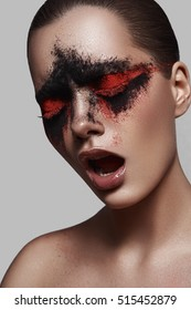Beauty Model with opened Mouth