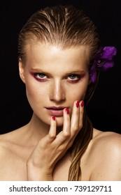 beauty model portrait - beautiful girl with a flower
