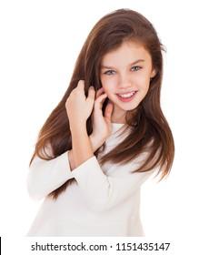 Beauty Model, Portrait of a charming brunette little girl, isolated on white background
