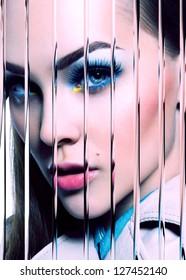 Beauty Model Woman Face. Perfect Skin. Professional Make-up. Makeup. Fashion Art