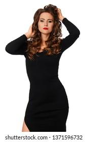 Beauty-Model-Frau mit Long-braunem Wavy-Hair einzeln auf weißem Hintergrund