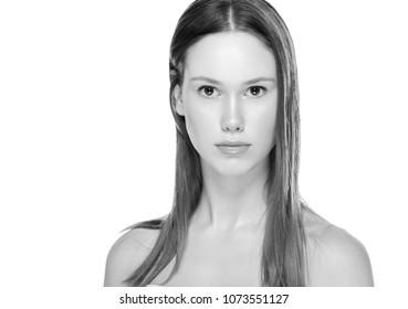 Beauty monochrome woman skin close up portrait