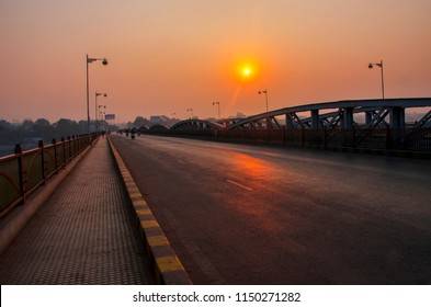 Beauty of the morning and sunrise on Ellish bridge Ahmedabad