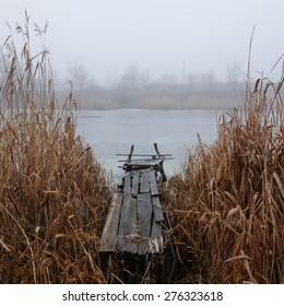 beauty morning's fog over the mystic bridge