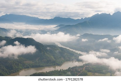 The beauty of the mountains, rivers and morning mist on the city's most beautiful viewpoint of NONG KHIAW, LAOS