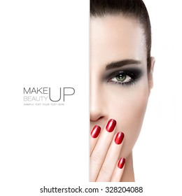 Beauty, nail art and makeup concept. Gorgeous fashion model woman with perfect skin wearing smoky eye makeup holding her hand with manicured red nails to her mouth, white card template over half face