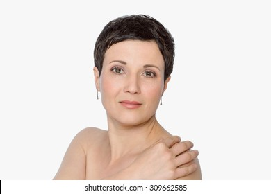 Beauty natural portrait of mature woman with fresh skin, concept of spa and skin care. Isolated, with copy space