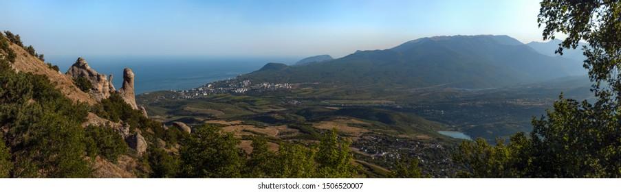 Beauty nature landscape Crimea, Alushta, Mount Dimerdjy, horizontal panorama photo