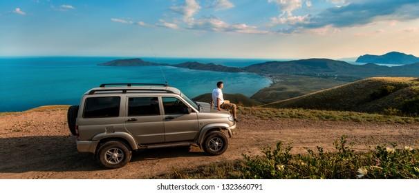 Beauty nature landscape Crimea , traveling on car concept, horizontal photo