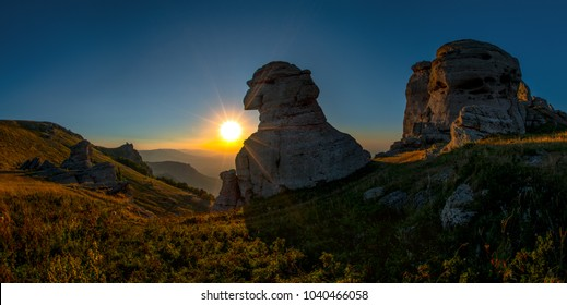 Beauty nature mountain landscape Crimea ( Dimerdjy), horizontal panorama photo