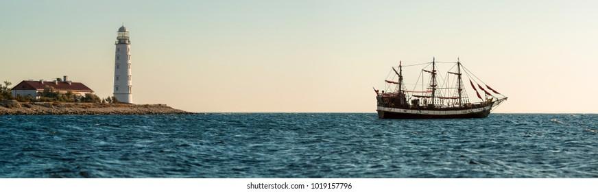 Beauty nature sea landscape Crimea with sailing vessel, horizontal photo