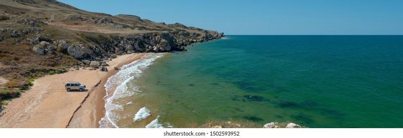 Beauty nature sea landscape Crimea ( Azovskoe sea), traveling off-road concept, horizontal photo