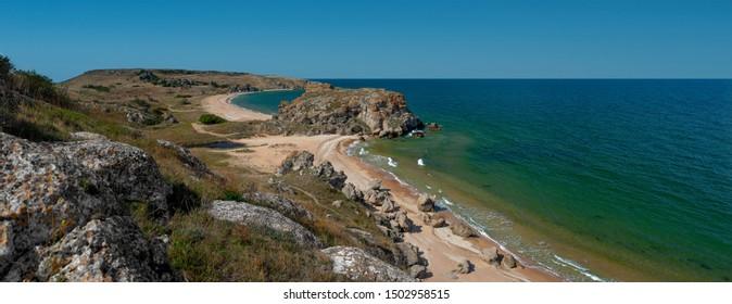 Beauty nature sea landscape Crimea ( Sea of Azov), horizontal panorama photo