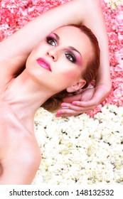 beauty on a flower carpet