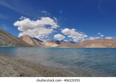 The beauty of Pangong Tso, a high altitude lake in Ladakh, the indian Himalayas