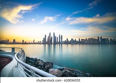 The beauty panorama of skyscrapers in Dubai from promenade. UAE