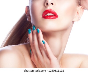 Beauty part of face of young girl with bright make-up, red lips touching clean skin
