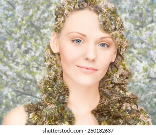 beauty, people, spring, summer season and health concept - happy young woman over blooming tree floral pattern and double exposure effect