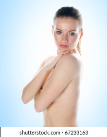 beauty picture of young woman with soft skin