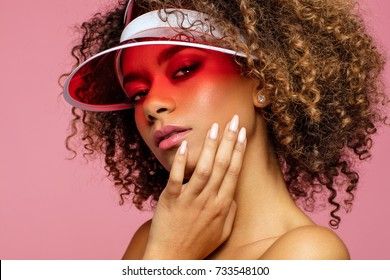 Beauty portrait of african american face with natural skin