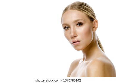 beauty portrait of attractive  caucasian woman blond isolated on white studio shot  lips face head and shoulders looking at camera