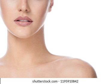 beauty portrait of attractive young caucasian woman brunette isolated on white studio shot lips face skin makeup eyes head and shoulders looking at camera