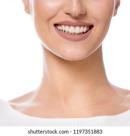 beauty portrait of attractive young caucasian happy smiling woman isolated on white studio shot face closeup toothy smile perfect teeth lips cheerful happy neck
