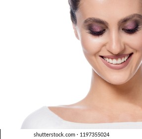 beauty portrait of attractive young caucasian happy smiling woman isolated on white studio shot face makeup toothy smile perfect teeth