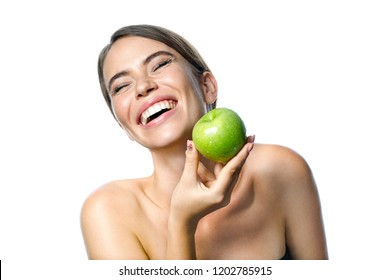 beauty portrait of attractive young caucasian smiling woman brunette isolated on white studio shot  lips toothy smile facer head and shoulders cheerful teeth neck hand healty food fruit green apple