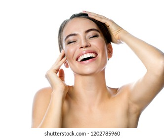 beauty portrait of attractive young caucasian smiling woman brunette isolated on white studio shot  lips toothy smile facer head and shoulders cheerful teeth neck hands eyes closed