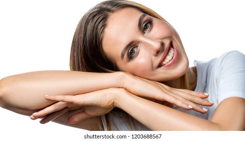 beauty portrait of attractive young caucasian smiling woman  isolated on white studio shot  lips toothy smile facer head and shoulders cheerful teeth neck hand looking at camera