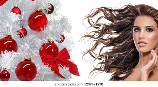 beauty portrait of attractive young caucasian woman brunette isolated on white studio shot lips face skin makeup long hair wing blowing head and shoulders  christmas new year tree