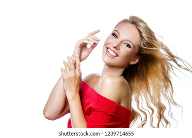 beauty portrait of attractive young caucasian smiling woman blond isolated on white studio shottoothy smile face long hair head and shoulders looking at camera