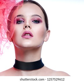 beauty portrait of attractive young caucasian woman isolated on white studio shot  lips face head  looking at camera face skin makeup eyes