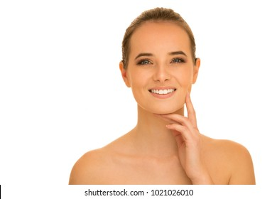 Beauty portrait of beautiful caucasian brunette woman isolated over white background