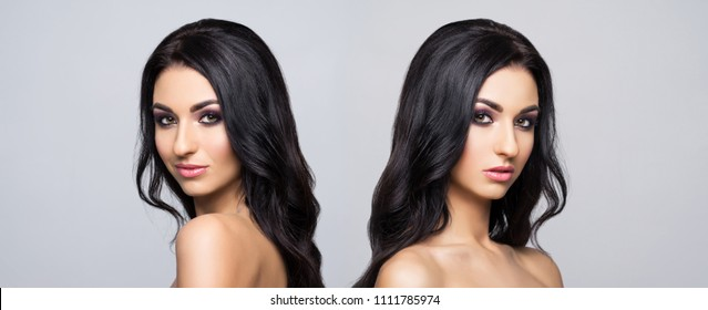 Beauty portrait of beautiful, fresh and healthy women. Twins over grey background. Health and beauty concept.
