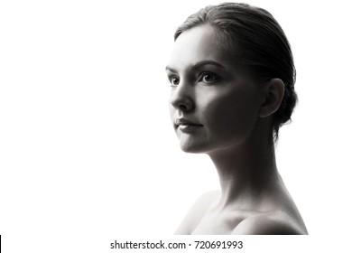beauty portrait of caucasian woman