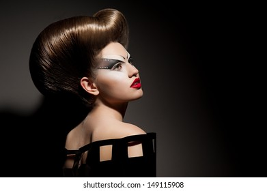 Beauty portrait with creative hairstyle isolated
